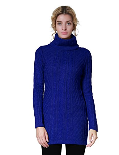 ninovino Women's Turtleneck Sweater Cable Knit Winter Pullover Top Blue-L