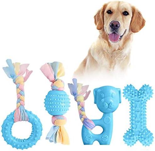 JYPS Puppy Chew Toys, 4pcs Juego de Juguete para la dentición del Perro con Bolas y Cuerdas de algodón Regalo Interactivo de Juguetes para Mascotas para Cachorros pequeños y Perros medianos (Azul)