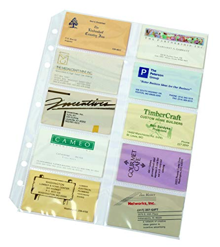 TOPS Cardinal Poly Business Card Refill Page, 10-Pack (7860 000)