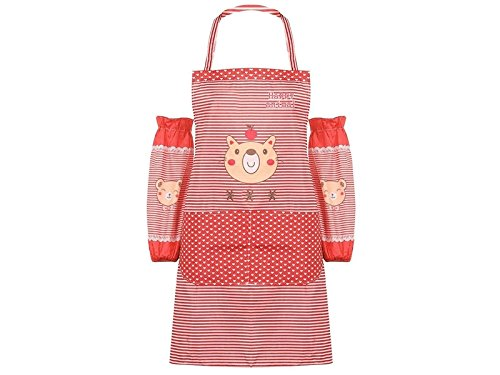 GYPO Convenient Cartoon Cute Bear Striped Apron Two Arms Sleeves (Red) Cooking
