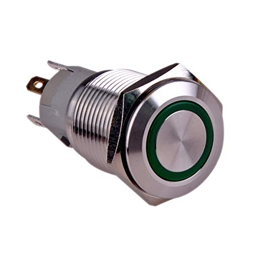 Ulincos Momentary Push Button Switch U16F1 1NO1NC Silver Stainless Steel Shell with 12V Green LED Ring Suitable for 16mm 5/8 Mounting Hole (Green)
