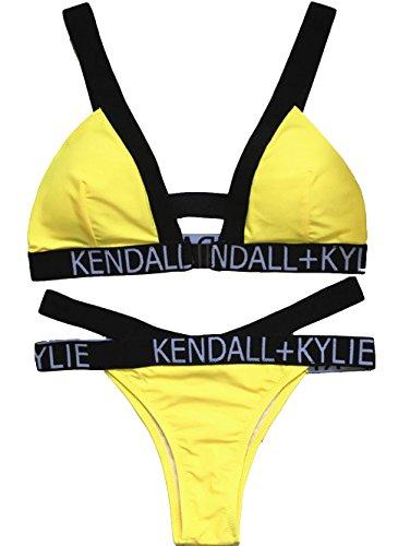 Women Bikini Yellow Swimwear Letters Print Trendy Style Swim Suits Beach Bathing