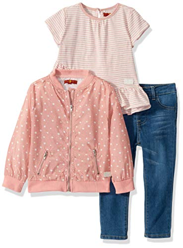 7 For All Mankind Baby Girls 3 Piece Set, Rosy Petals/Antique Print/Medium Wash, 12M from 7 For All Mankind