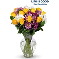 Benchmark Bouquets Life is Good Flowers – Yellow with Vase – Fresh Flowers – Overnight Shipping & Delivery – Farm Fresh Roses, Mums, Greens, Yellow Flowers, Flower Bouquet, Purple Flowers