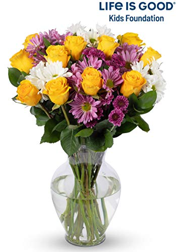 Benchmark Bouquets Life is Good Flowers - Yellow with Vase - Fresh Flowers - Overnight Shipping & Delivery - Farm Fresh Roses, Mums, Greens, Yellow Flowers, Flower Bouquet, Purple -