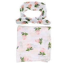 Quest Sweet Baby Muslin Swaddle Blanket,receiving Blankets,soft Newborn Baby Blanket&headband Set