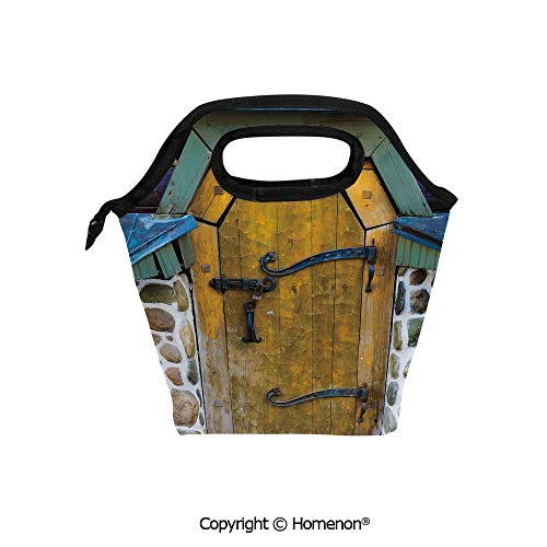 Insulated Neoprene Soft Lunch Bag Tote Handbag lunchbox,3d prited with Antique Style Door of a Stone House in the Countryside Entrance Architecture Vintage,For School work Office Kids Lunch Box & Food