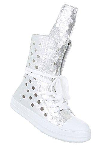 Damen Freizeitschuhe Schuhe Sneakers Sportschuhe Turnschuhe Silber