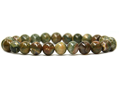 Beads Bracelet Stretch Jasper Round (Amandastone Natural Rhyolite Jasper Gemstone 8mm Round Beads Stretch Bracelet 7