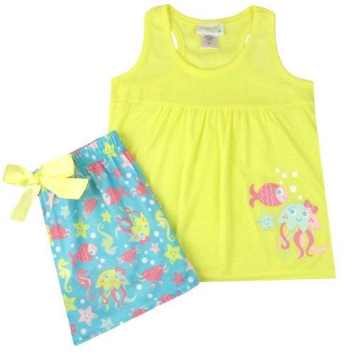 Capelli New York Little Girls Sealife Print 2 Piece Set: Tank and Short Yellow Combo (Sea Life Short Set)