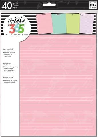 Colored Inserts - Create 365 The Classic Medium Happy Planner Colored Planner Inserts, All the Things, Notes, Brain Dump, Be Productive