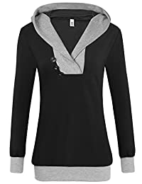 Meaneor Woman's Long Sleeve Pullover Splic Tunic Sweatershirts