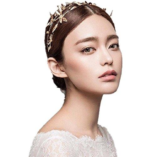 Headband Dragonfly Wedding Tiara Crown Gold Bridal Hair Accessories(A1172) (Dragon Headband)