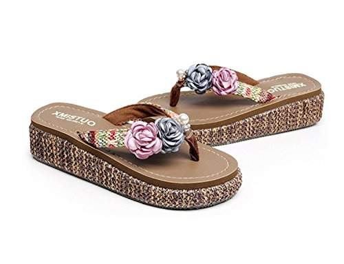 et Mme Femmes And Occasionnels Gray Flowers Pieds Pantoufles Slips Plage Antidérapants Pink Sandales Épaisses DANDANJIE Sandales Mode Wedges et Pantoufles Flippers FZqBUYnwYd