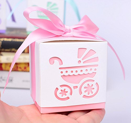 Somnr® 50 Pack Pink or Blue Baby Carriage Laser Cut Square Favor Gift Box Christening Baby Shower Party Favors (Pink)
