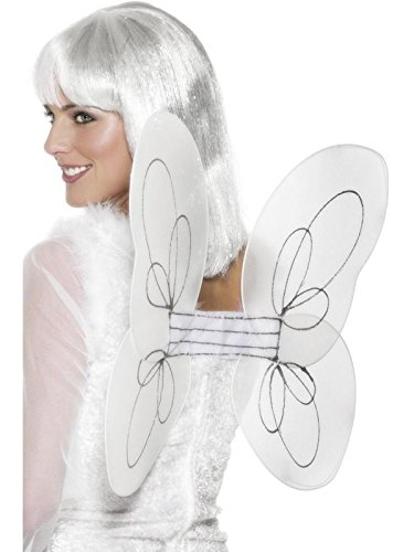 Ladies White Glitter Fairy Godmother Angel Wings Xmas Christmas Fancy Dress Costume Outfit Accessory (One Size) ()