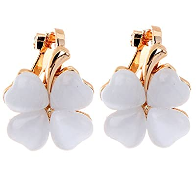 YAZILIND Clover Small Diamond Cat'S Eye Clip-Ons Umbilicaria Earrings Mothers Day Gifts