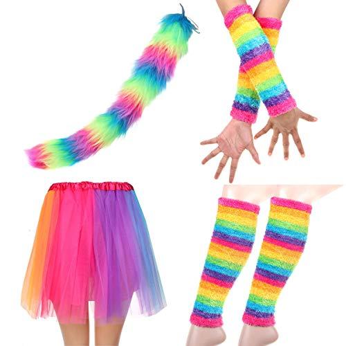 Adult Rainbow Costume Sets Wave Wig Long Gloves Stockings Tail Tutu Skirt Feather Headband (N) -