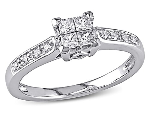 1/4 Carat (ctw I2-I3, G-H) Princess Cut Diamond Engagement Ring in 10K White Gold