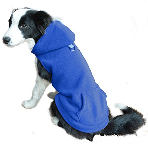 Fleece Dog Hoodies with Pocket, Cold Weather Spring Vest Sweatshirt with O-Ring, Blue XL