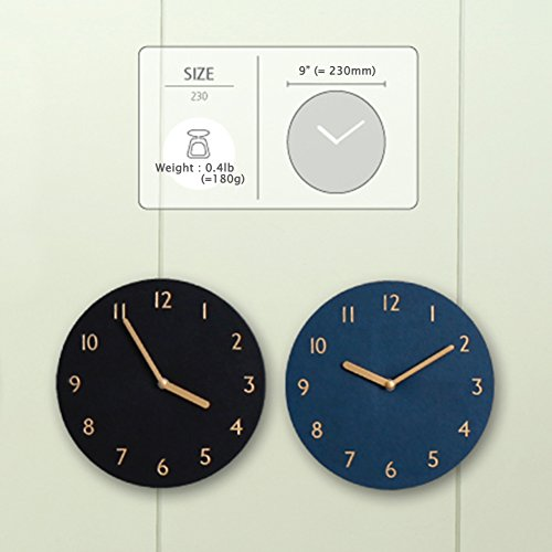 thehaki Decorative Wall Clock Silent & Non-Ticking Quartz Clock PU Leather  Lightweight 0 4lb Round 9