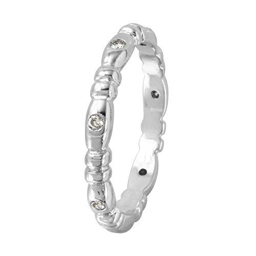0.1 Carat Natural Diamond 14K White Gold Wedding Band for Women Size 6 (0.1 Diamond Ct Bezel)