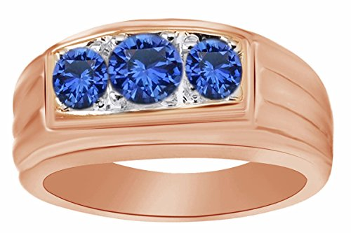 AFFY Round Simulated Blue Sapphire Three Stone Men's Band Ring in 14k Rose Gold Over Sterling Silver Ring Size - 8.5 by AFFY