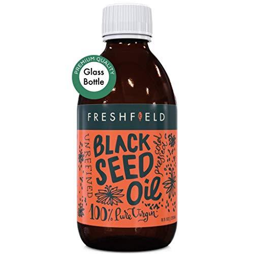 Freshfield Black Seed Oil: (Black Cumin Seed Oil, Nigella Sativa) 1.6%+ Thymoquinone | Cold Pressed | Ultra Strength | Premium Liquid, Pure and 100% Natural. 8.5 oz Glass Bottle