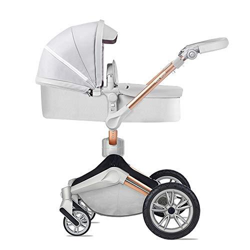 Hot Mom Silla de paseo Reversibilidad rotacion multifuncional de 360 grados con buggy asiento y capazo 2020 Nueva actualizacion (Grey)