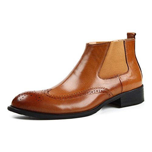 Zapatos Clásicos de Piel para Hombre Zapatos de cuero para hombres High-top Business British Style señaló corto Martin Boots ( Color : Red-brown , Tamaño : EU43/UK8 ) Yellow-brown