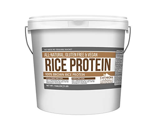 Rice Protein Powder, 1 Gallon Bucket 5 LBS by Earthborn Elements, Sustainably Sourced from Sprouted Brown Rice, Vegan Gluten-Free, Post-Workout Recovery