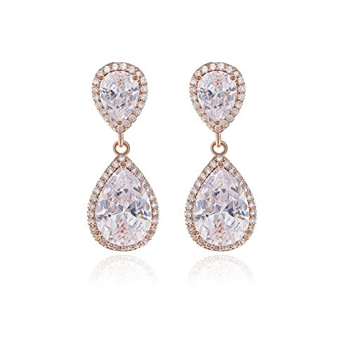 Teardrop Dangle Earrings for Wedding - 14K Rose Gold Plated Sterling Silver Pear Shape Cubic Zirconia Crystal Drop Earrings for Women Bridal Jewelry for Bridesmaids Mother of Bride Party Prom Pageant ()