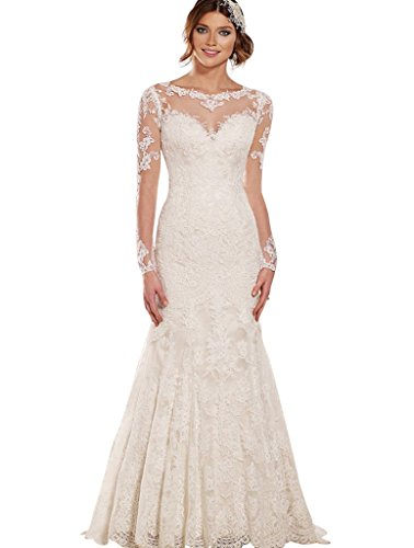Trumpet/Mermaid Strapless Chapel Train Lace Wedding Dress (White) - 3