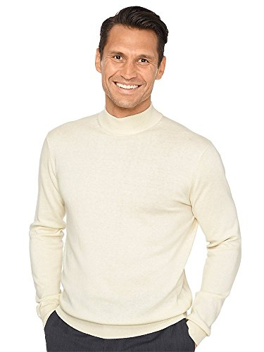 (Paul Fredrick Men's Silk, Cotton \ Cashmere Mock Neck Sweater Ivory 2XL )