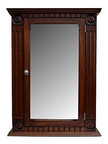 D&E Wood Craft Cabinets Rosette dark walnut Medicine Cabinet/solid wood & handmade/Surface Mount by D&E Wood Craft Cabinets