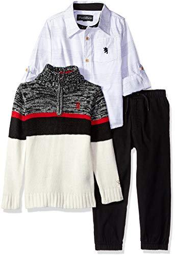 - English Laundry Boys' Little Long Sleeve Sport Shirt, Sweater, and Pant Set, Multi Plaid, 5