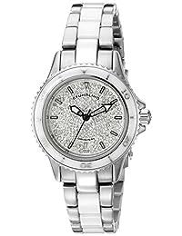 Stuhrling Original Women's 250.12EP2 Astera Swiss Made Quartz Date Swarovski Crystal Two Tone White Watch