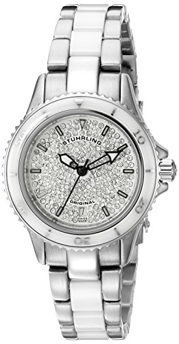 Stuhrling Original Women's 250.12EP2 Leisure Ceramic Astera Swiss Made Quartz Swarovski Crystal  Watch