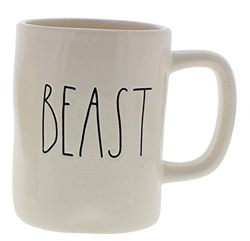 Rae Dunn Classic Font Coffee Mugs (Beast (White/White))
