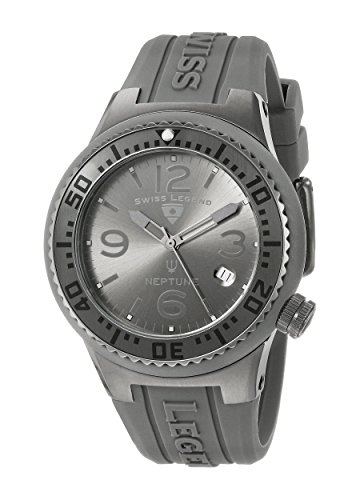 Swiss Legend ' Neptune' Swiss Quartz Stainless Steel and Silicone Casual Watch, Color:Grey (Model: - Legend Men Watches Swiss