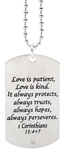 Love is Patient, Love is Kind, It Always Protects, Always Trusts - Stainless Steel Jewelry for Boys and Men ()