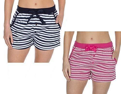 Insignia Mujer Pantalones de Andar por Casa Jersey Algodón Suave Pijama Pantalones Cortos Rayas