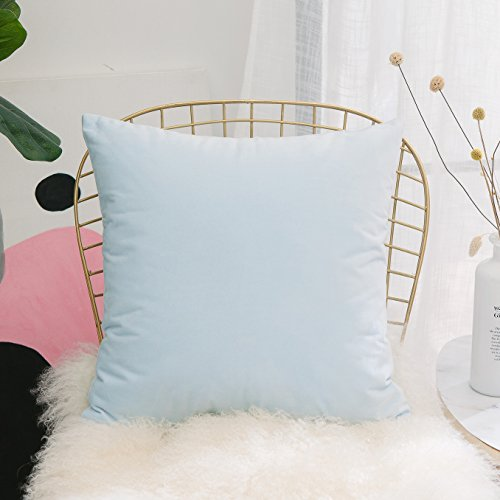 HOME BRILLIANT Ultra Soft Elegant Velvet Decorative Euro Pillow Sham Cover Cushion Case for Couch/Bed/Chair/Nursery, 24x24 inches(60x60cm), Light Blue