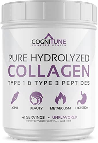 Pure Hydrolyzed Collagen Protein Powder - Type 1 & 3 Peptides Unflavored - Premium Grass Fed, Keto Diet & Paleo Friendly Nutrition, Non-GMO, Gluten Free - Supports Hair, Skin & Anti-Aging – 15.9 oz