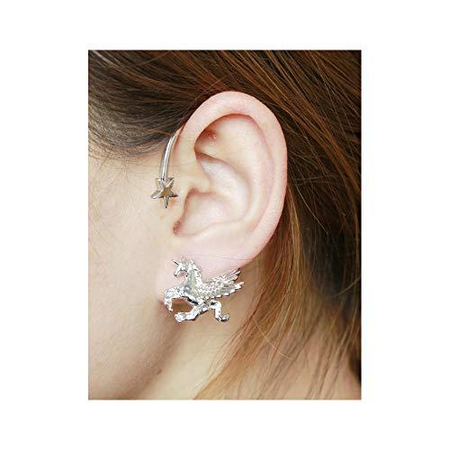 J Meng Punk Unicorn Ear Cuff Retro Twine Unicorn Wrap Studs Earrings for Women Men (Silver)