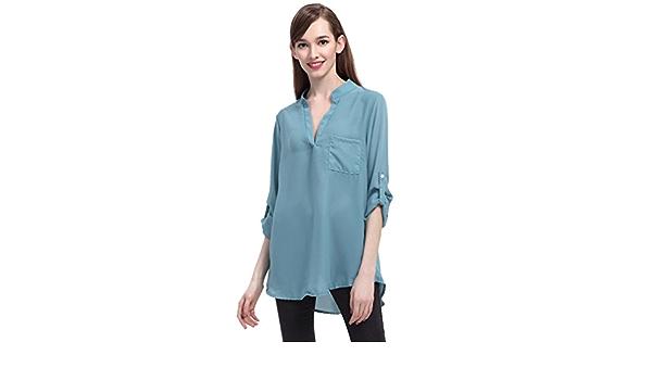 Blusas de Vestir Manga Larga Cuello en V Blusa Gasa Fiesta Camisas Mujer Camisetas Largas Elegantes Dama Bonitas Blusas Top para Señoras Blusones ...