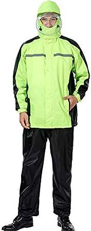 WX-ICZY Adultos Exterior Doble Impermeable Traje, Split Reflectante Lluvia del Impermeable Traje Adecuado para Montar a Caballo al Aire Libre por los Conductores,Verde,M