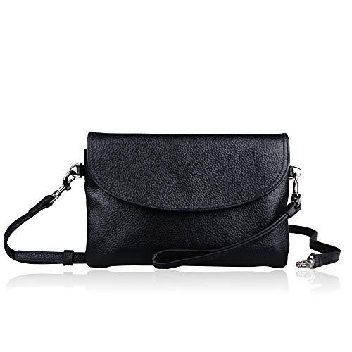Befen Womens Full Grain Leather Wristlet Clutch Crossbody Phone Wallet, Mini Hipster Cross Body Bag - Black