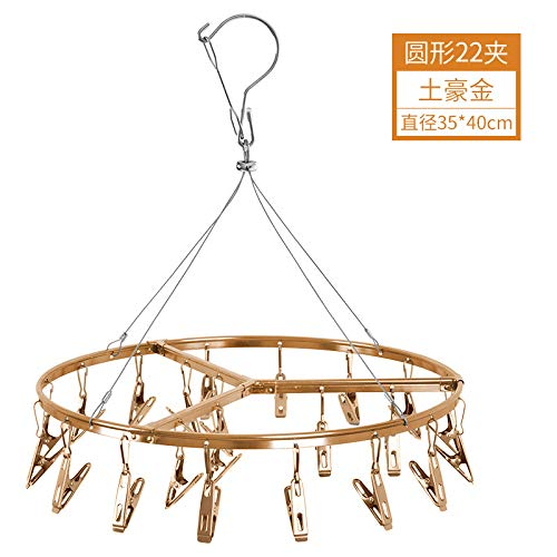 Zhihuoyou Aluminium Sun Hangers, Wind-Proof, Underwear Clips, Sun Socks. Aluminium Tanning Rack Round 22 Clip Gold Box and Gold Clip