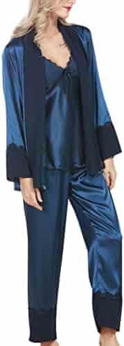 f7571b073f 4Ping Women s New Silk Long-sleeved Pants Pajamas Three-piece Sexy Pajamas